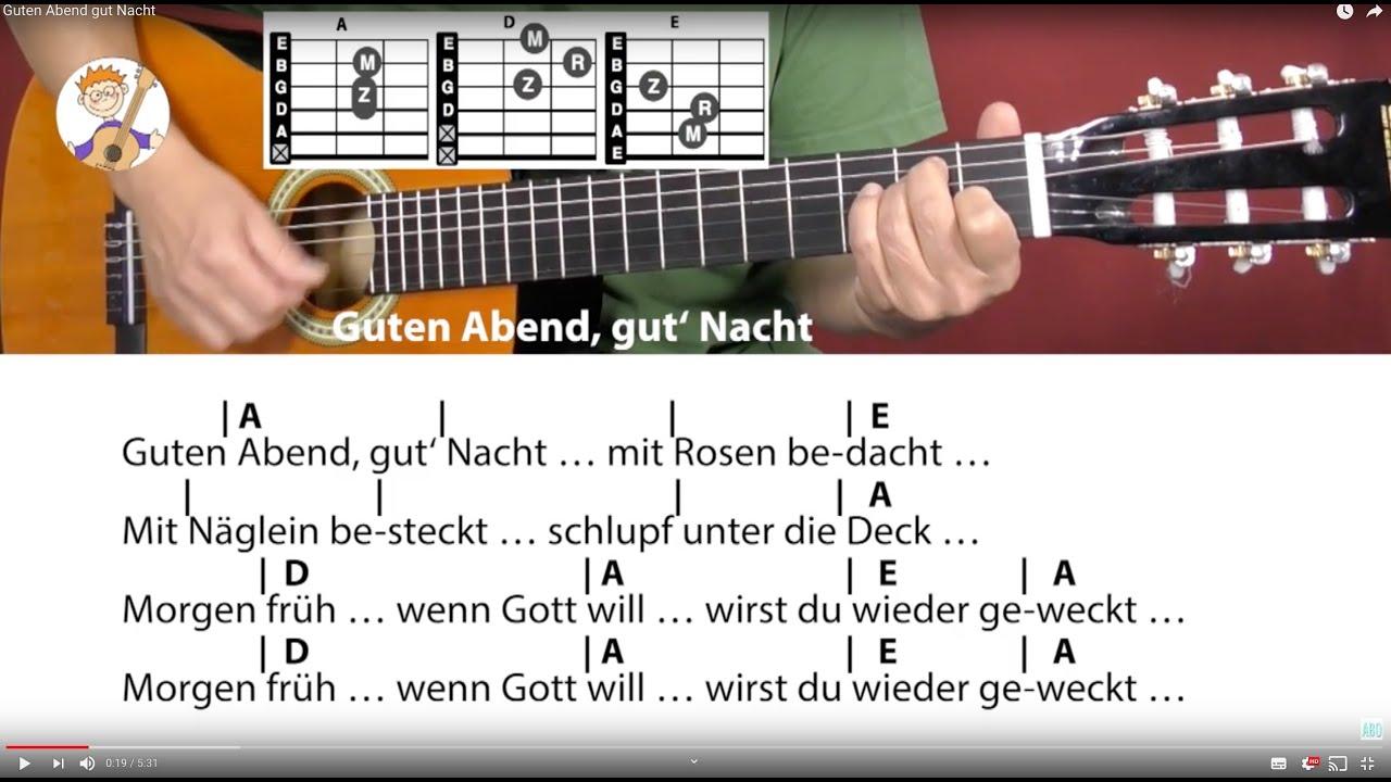 Guten Abend Gut Nacht Schlaflied Cover Akkorde Text Für Gitarre Zum Mitspielen