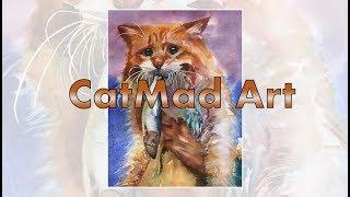 Рыжий кот, акварель - speed drawing