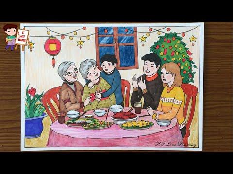 Vẽ tranh đề tài Gia đình: Bữa cơm sum họp ấm áp bên ông bà | How to draw family