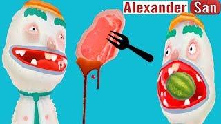 ГОТОВКА ЧЕЛЛЕНДЖ Готовим СОК СЫРОЕ МЯСО Мультики для детей про готовку Смешная веселая детская игра