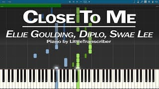 Ellie Goulding, Diplo, Swae Lee - Close To Me (Piano Cover) Synthesia Tutorial by LittleTranscriber