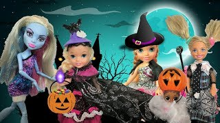 Anna and Elsa Toddlers Trick or Treating Halloween Party! Barbie Chelsea Monster High LOL Surprise