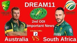 Australia vs South Africa 2nd ODI Dream11   SA vs AUS 2nd ODI   Dream11 South Africa vs Australia