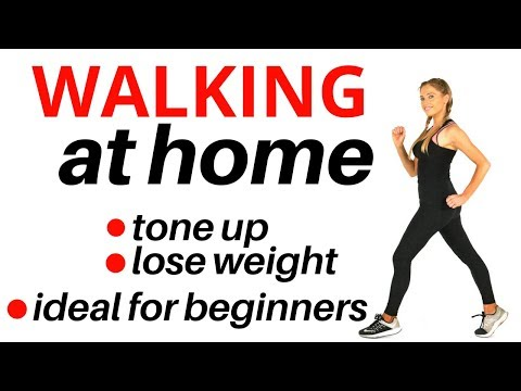 WALKING AT HOME - BEGINNERS INDOOR WALKING WORKOUT AT HOME  - WEIGHT LOSS WALK AND TONE