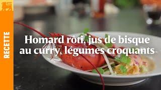 Homard rôti, jus de bisque au curry, légumes croquants