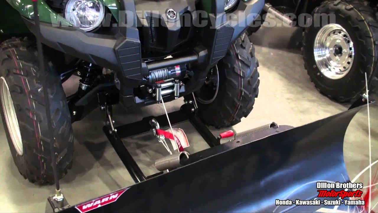 warn winch plow blade demonstration yamaha grizzly 550 kawasaki brute force 750 [ 1280 x 720 Pixel ]