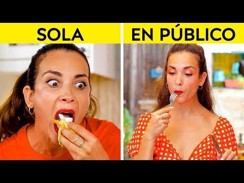 CHICAS EN PÚBLICO VS. SOLAS || ¡Cómo haces las cosas sola vs. en público por 123 GO! Spanish!
