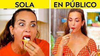 CHICAS EN PÚBLICO VS. SOLAS || ¡Cómo haces las cosas sola vs. en público por 123 GO!