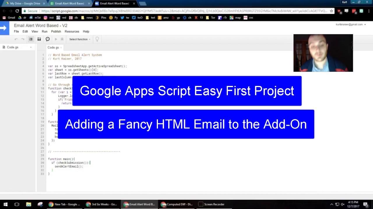 Google Apps Script Easy Email Alert Project – Part 2 – tech