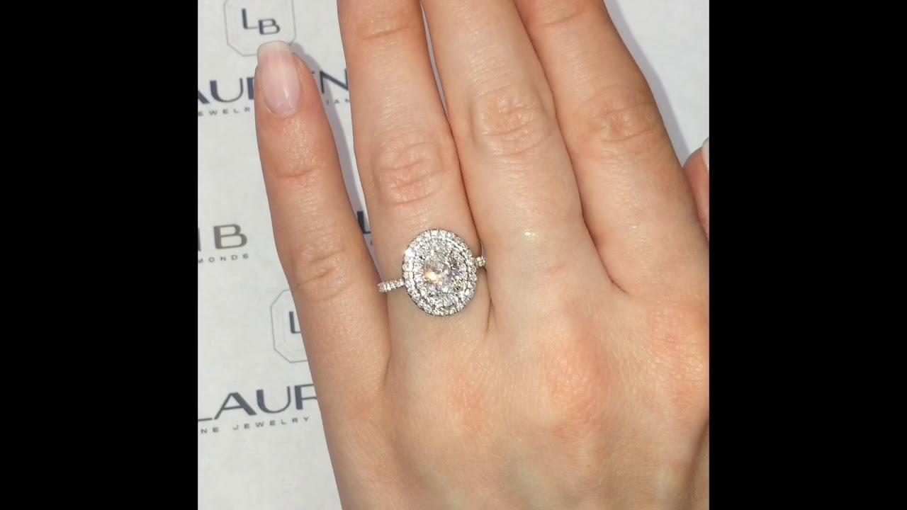 .96 ct Oval Diamond Halo Three Row Band Engagement Ring