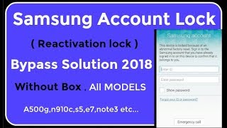 bypass Samsung account Lock (reactivation lock) Solution 2018 ! All Models