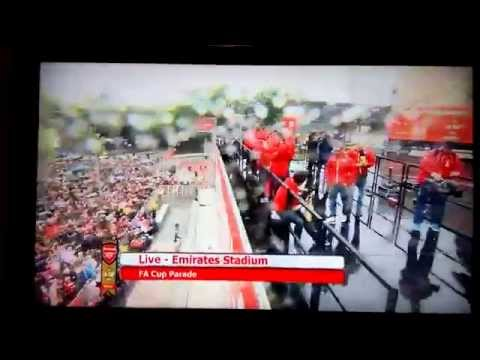 Arsenal FA Cup 2015 Celebrations The Team Come To The Stage Ozil,Giroud,Walcott,Sanchez,Cazorla