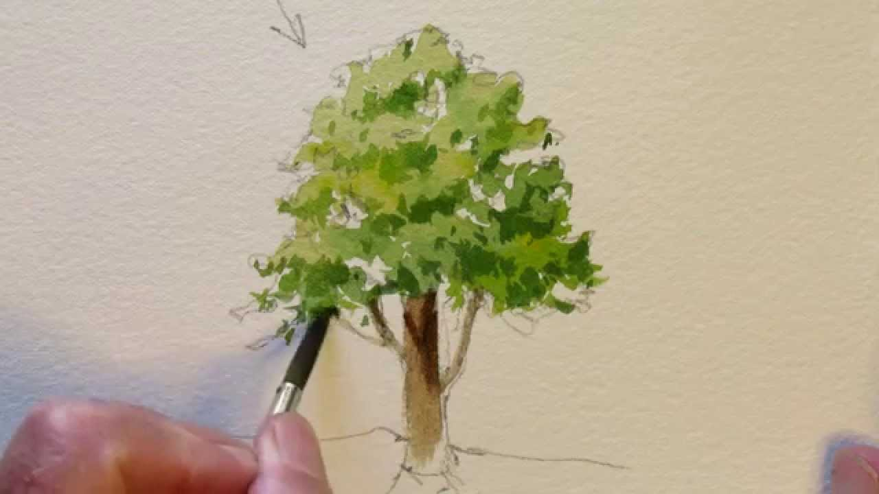 how to paint a simple tree youtube. Black Bedroom Furniture Sets. Home Design Ideas