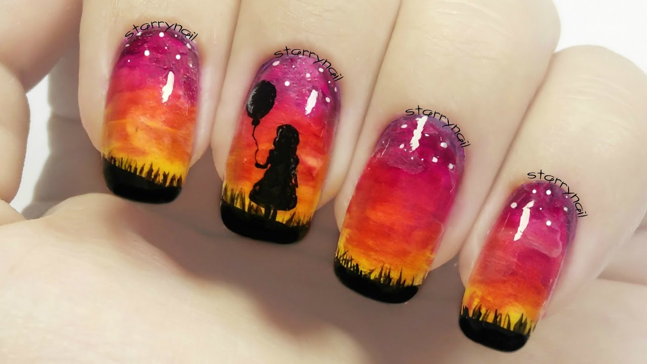 Girl With A Balloon Sunset Nails Freehand Nail Art Youtube