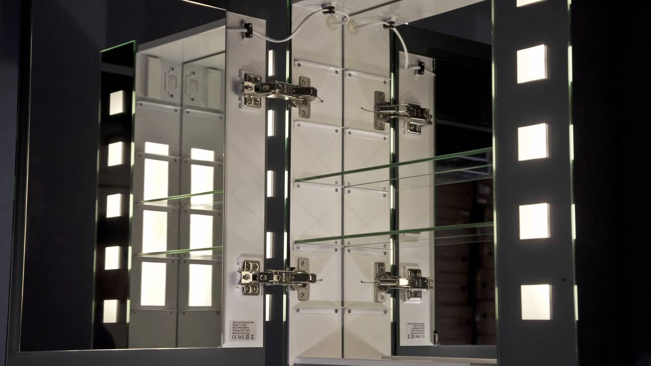 Illuminated Bathroom Mirror Cabinet with Built in Demister Pad & Illuminated Bathroom Mirror Cabinet with Built in Demister Pad - YouTube