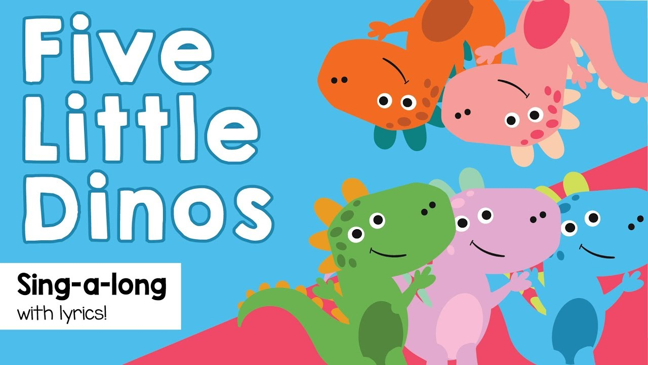 Five Little Dinos jumping on the bed song | five little monkeys jumping on the bed with lyrics