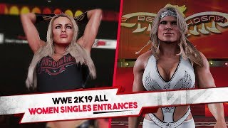 WWE 2K19 All Women Singles Entrances (30+ Characters)
