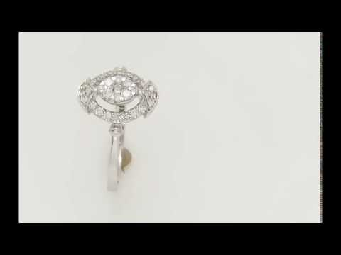 Stylish 14k White Gold Ring 0.45ct. Diamonds with IGI Certificate
