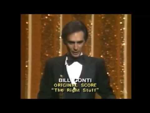 """Bill Conti accepts Oscar for """"The Right Stuff"""" score"""