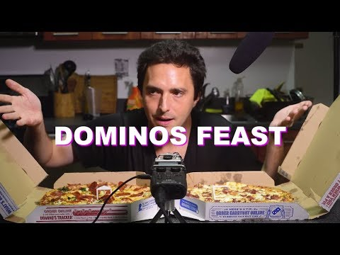 ASMR DOMINOS PIZZA FEASTING ( Soft Eating Sounds ) No Talking | Nomnomsammieboy