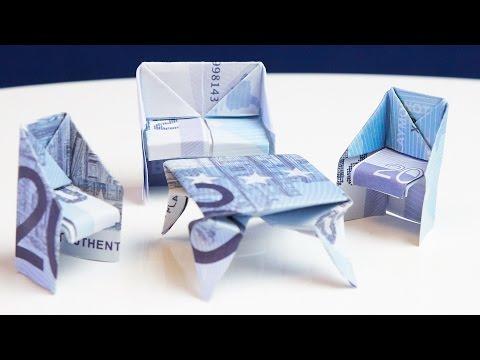 geschenk zum einzug tisch aus geld falten doovi. Black Bedroom Furniture Sets. Home Design Ideas