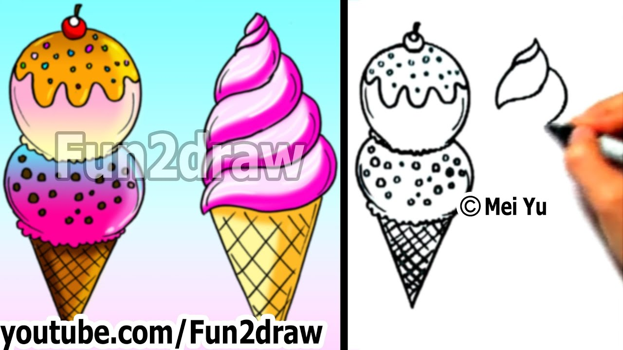 Uncategorized Drawings Of Ice Cream art lessons how to draw an ice cream 2 yummy ways learn fun2draw youtube