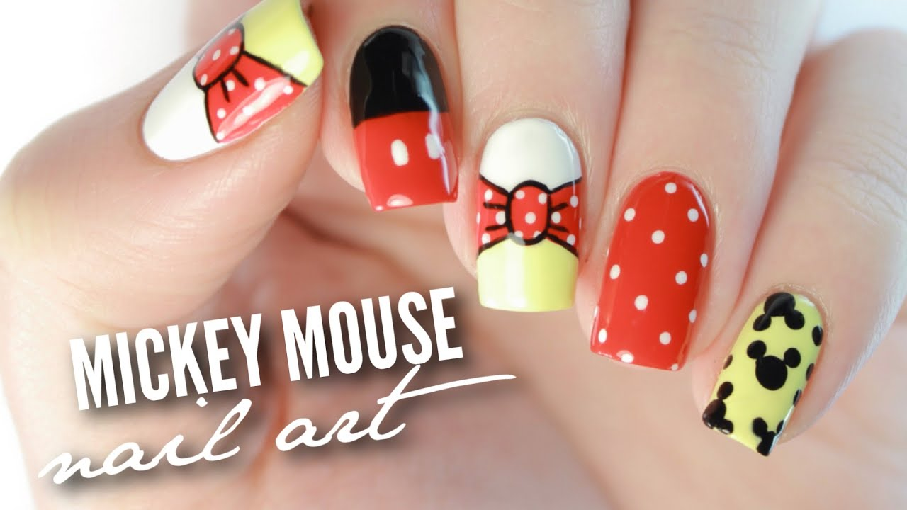 Disney Mickey Mouse Nail Art - YouTube