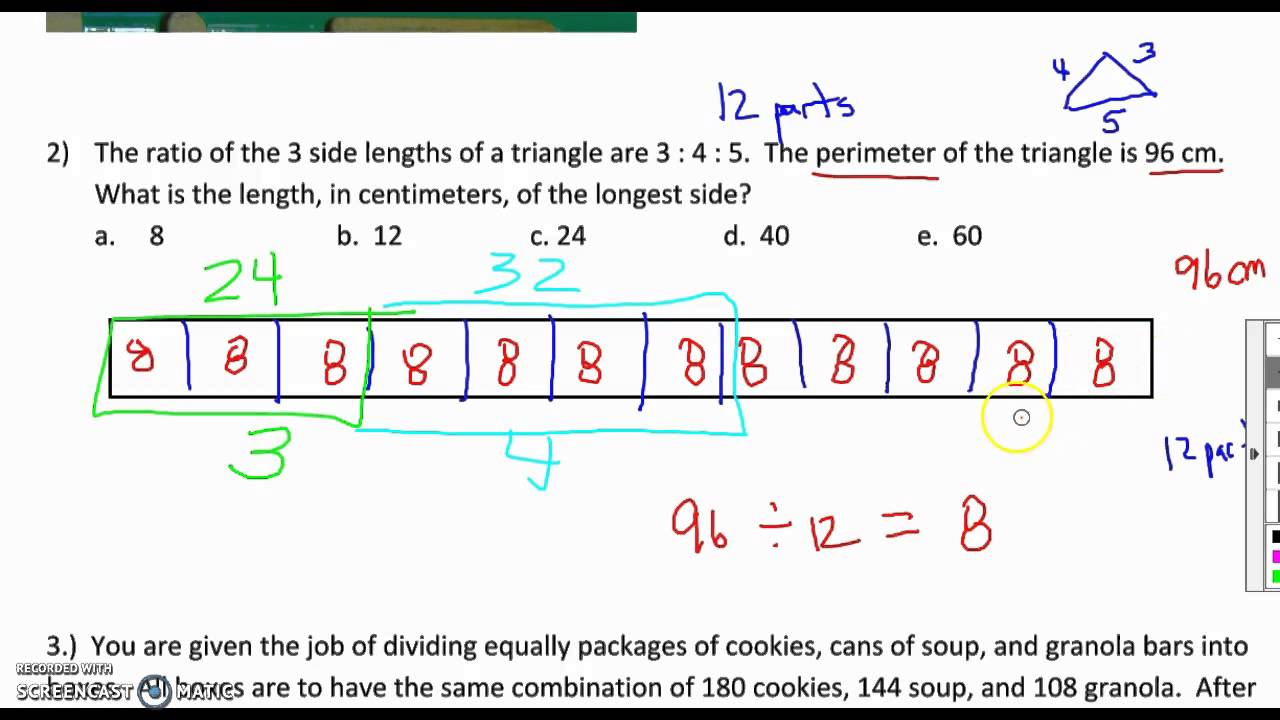 Tape Diagrams and 3 part ratios  YouTube