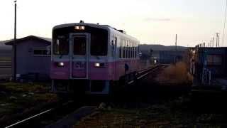 由利高原鉄道 ゆりてつトレイン子吉駅到着の様子