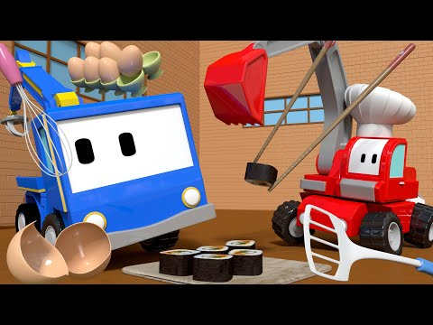 The RESTAURANT - Tiny Trucks for Kids with Street Vehicles Bulldozer, Excavator & Crane