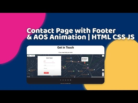 Contact Page with Footer & AOS Animation | HTML, CSS, JS, AOS Animation