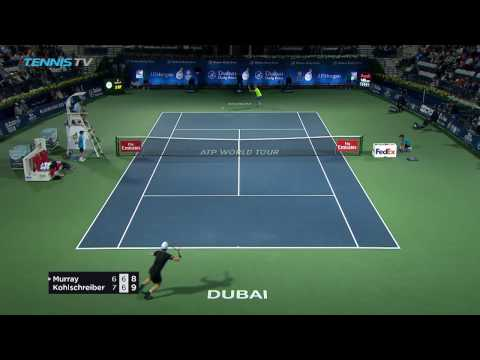 Amazing Andy Murray drop-shot to save match point at 2017 Dubai!