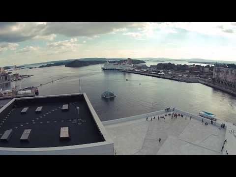 Flying over the Opera House in Oslo