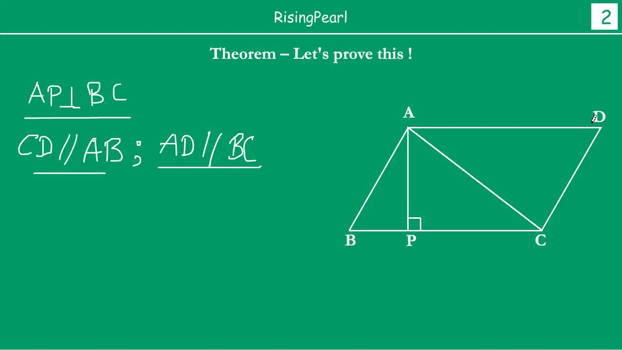 Area Of A Triangle Is Half The Product Of Base And Corresponding Height  (theorem And Proof)