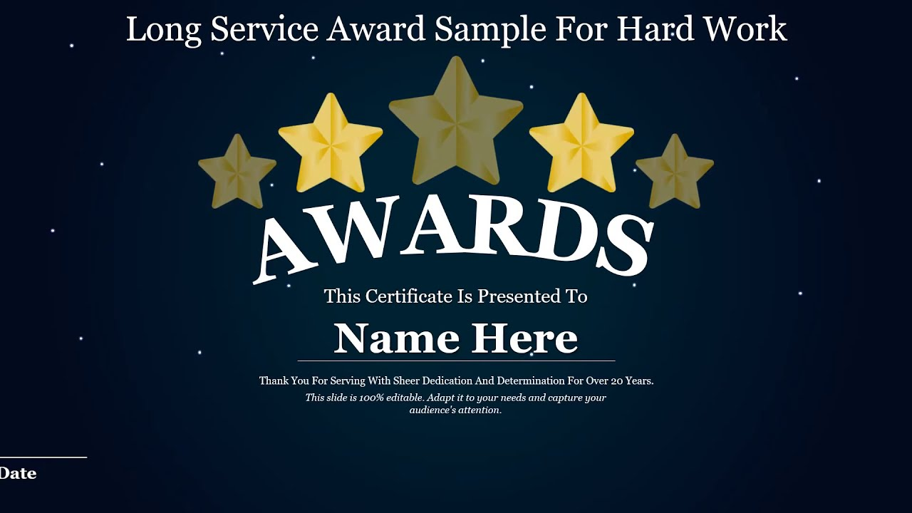 Long Service Award Sample For Hard Work PowerPoint Template In Long Service Certificate Template Sample