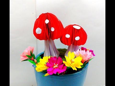 Diy How to make Easy 3D Paper Mushrooms
