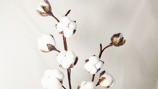 Мастер класс Хлопок из бисера Авторский Мк Бисероплетение Beaded cotton plant