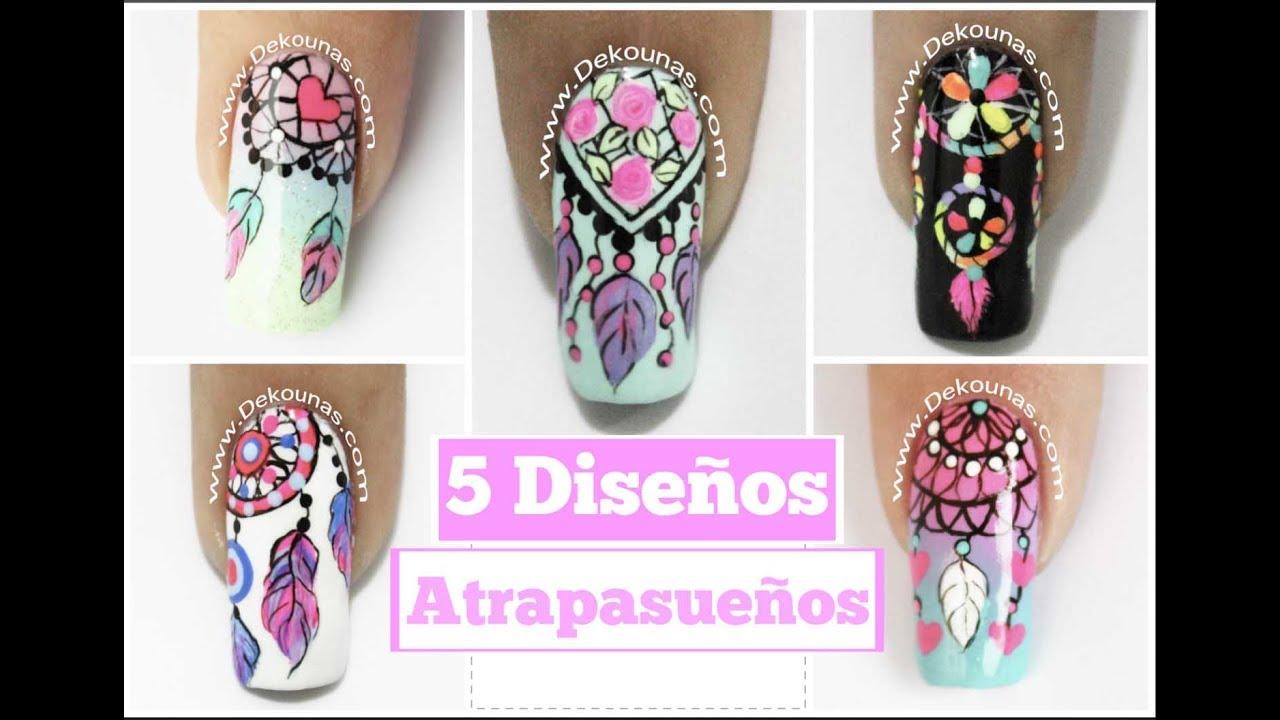 5 Diseños De Uñas Facil De Atrapasueños 5 Easy Dreamcatcher Nail