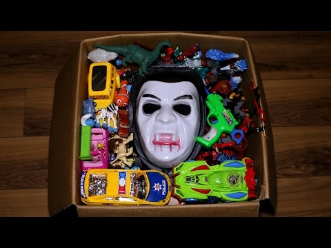 Box with Toys: Action Figures, Cars, Jurassic World Hero Mashers and More