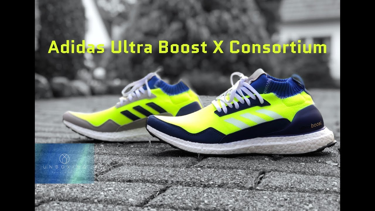 huge discount dfc5a 73fdc Adidas Consortium Ultra Boost MidProto  yellow navy wht    UNBOXING   ON  FEET   fashion shoes   4K