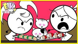 Cats Ate All of Santa's Cookies - Emma & Kate EK Doodles Cartoon Animation for Kids!