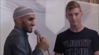 19 years old american russian converts to islam in a mosque after lecture about islam