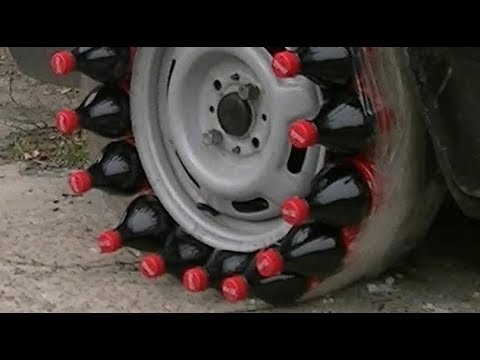 plastic bottles Coca-Cola or tires on the Car