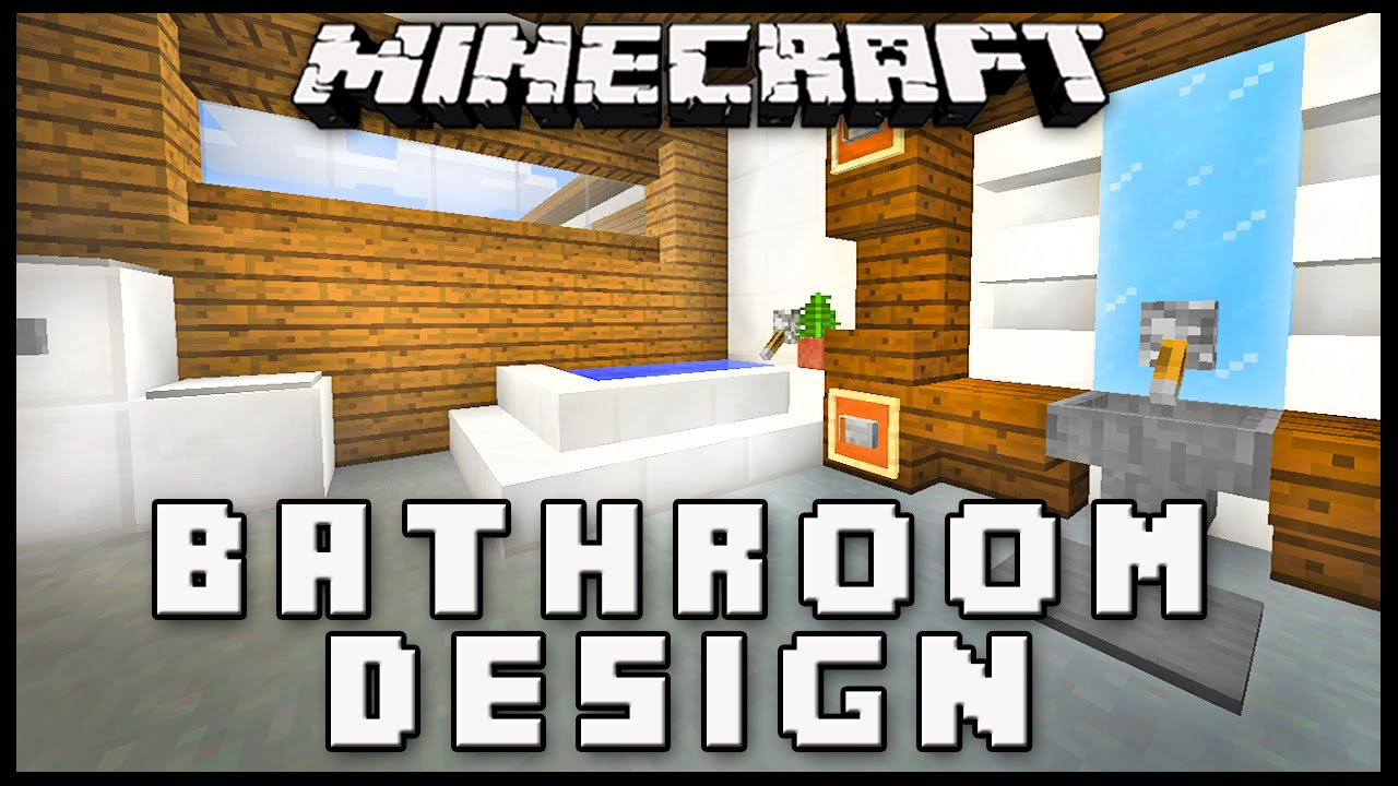minecraft how to make a modern bathroom design house build ep 17 youtube