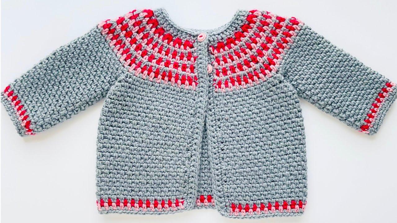 ABRIGO o suéter tejido a crochet paso a paso para niñas 3-24M PUNTO MUZGO FÁCIL, CROCHET FOR BABY