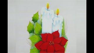 Pintura En Tela Navidad Velas Con Nochebuena