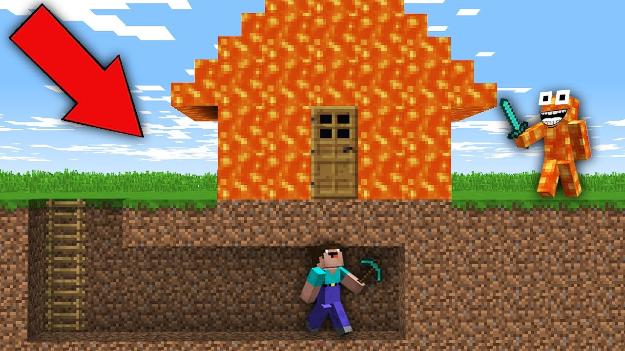 Noob Built Secret Passage Under House Of Lava In Minecraft Noob Vs Lava Monster Trolling Youtube