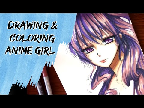 Drawing coloring anime girl