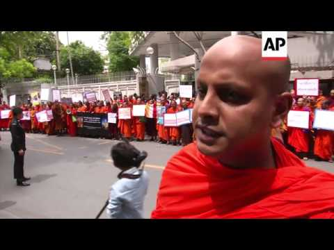 Buddhist monks protest outside Indian embassy over temple bombings