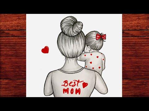 Anneler Günü Resmi Çizimi Kolay - Anneler Günü Çizimleri Karakalem - Çizim Mektebi Kolay Çizimler #2